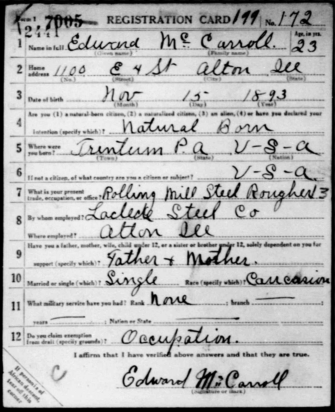 WWI Draft Registration