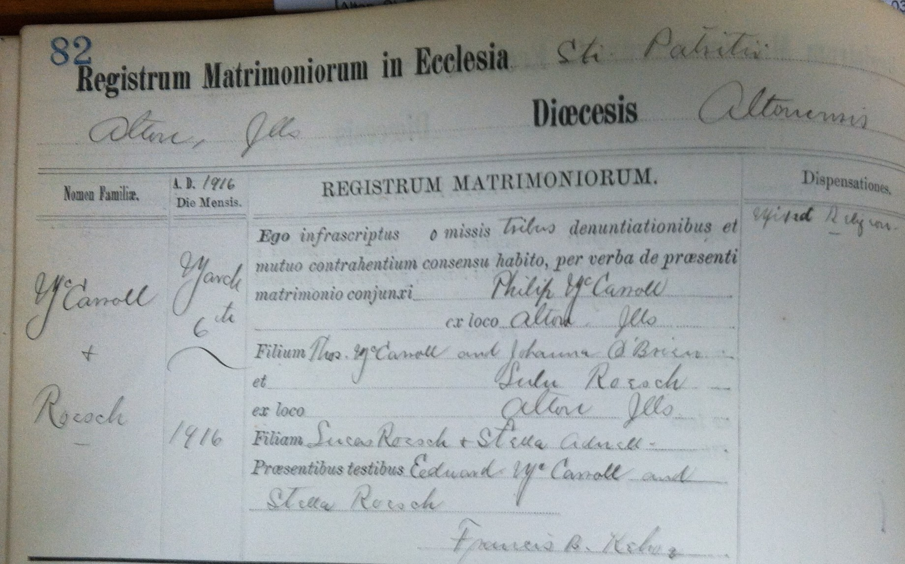 1916 Marriage Book Entry