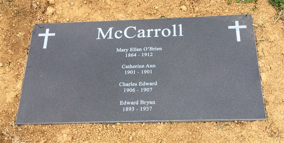 Headstone For Mary O'Brien McCarroll